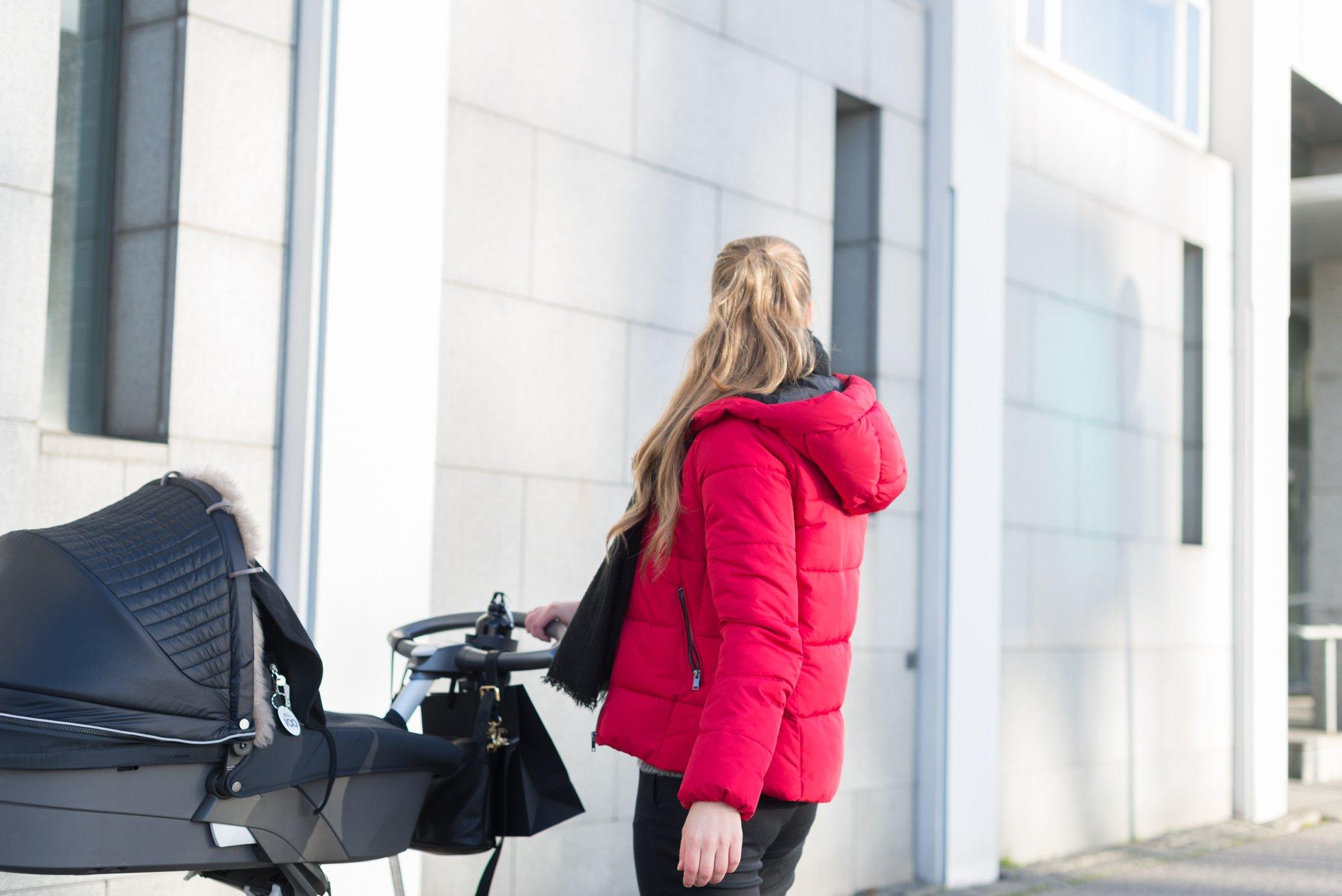 Red winter jacket @monasdailystyle